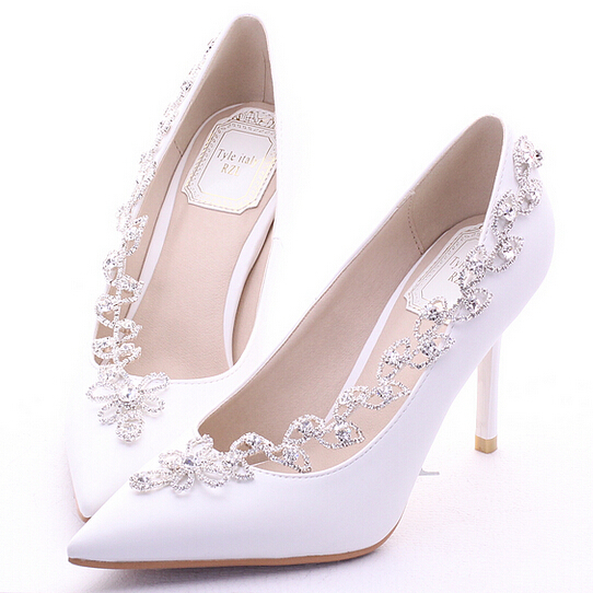 Get Quotations · 2015 White Crystal Bridal Shoes High Heels Platform Formal  Dress Thin Heels Shallow Mouth Rhinestone Wedding 50abf86aff8c