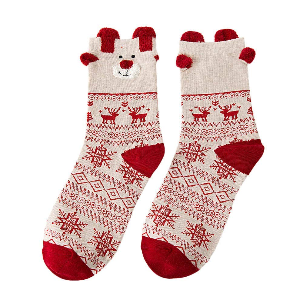 Elfjoy Baby Girls 5 Pairs Cotton Crew Socks Soft Holiday Christmas Gift
