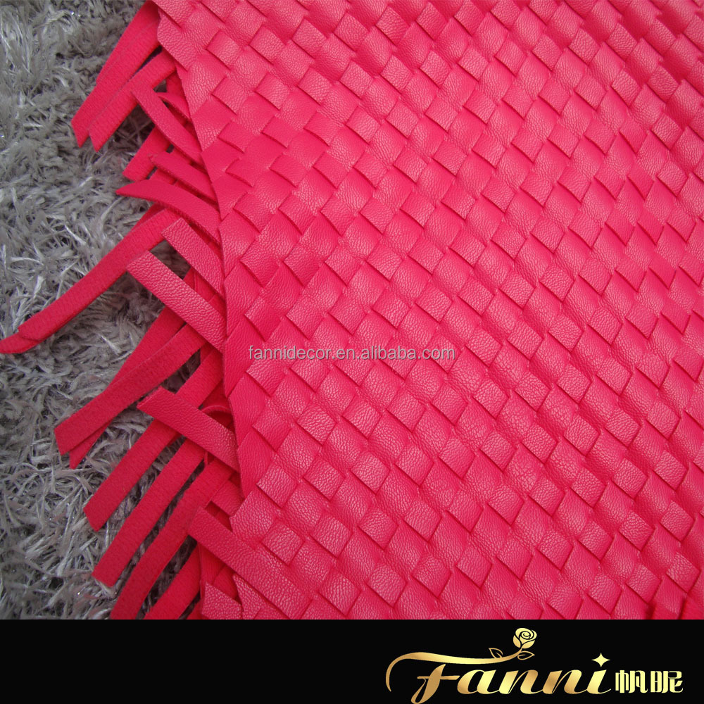 2015 synthetic pu braided leather fabric/pu woven leather fabric for bag/punch woven pu leather