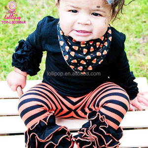 Halloween kids cotton ruffle pant trousers clothing children newborn sew sassy boutique orange and black striped icing pants