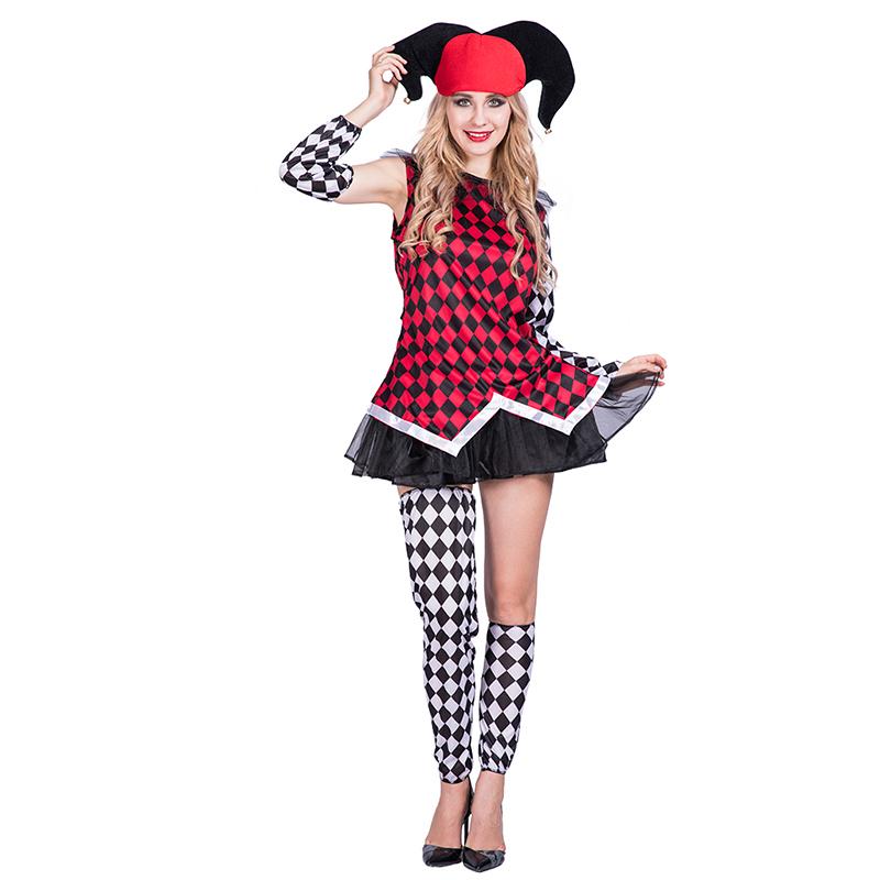 Enge Halloween Kostuums.Womens Dames Evil Jester Halloween Kostuum Volwassen Enge Harlequin Fancy Dress Outfit Buy Kostuums Scary Harlequin Fancy Dress Womens Dames Evil