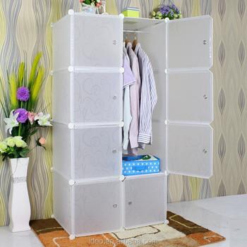 Bedroom Furniture Simple Wardrobe 8 Cubes White Color Diy Garderobe