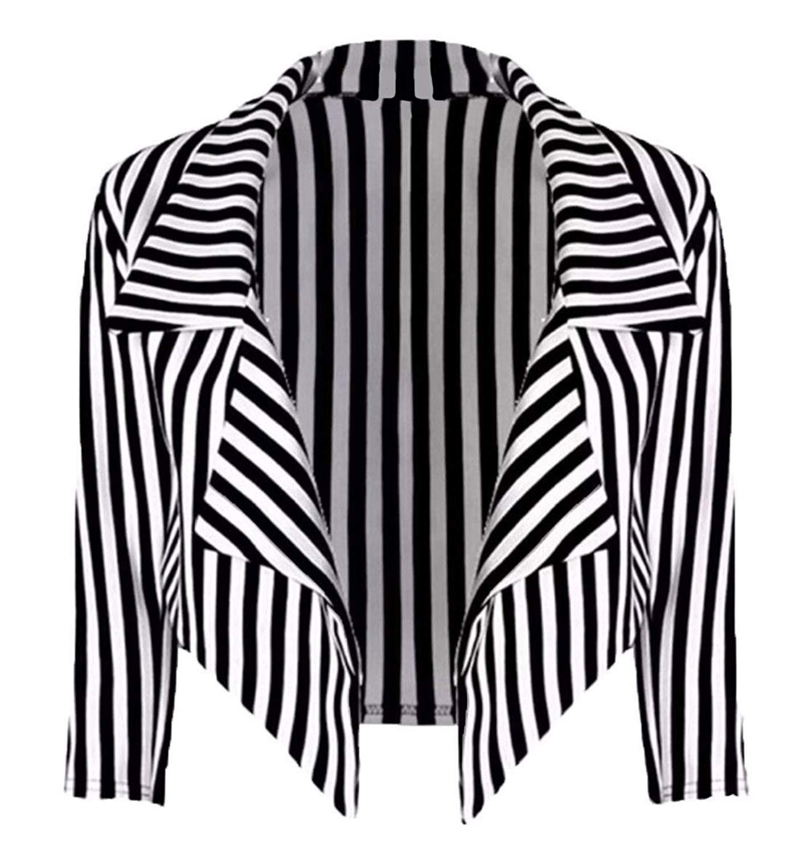 Rimi Hanger Womens Black & White Striped Waterfall Blazer Ladies Fancy Cropped Top Jacket S/XXL