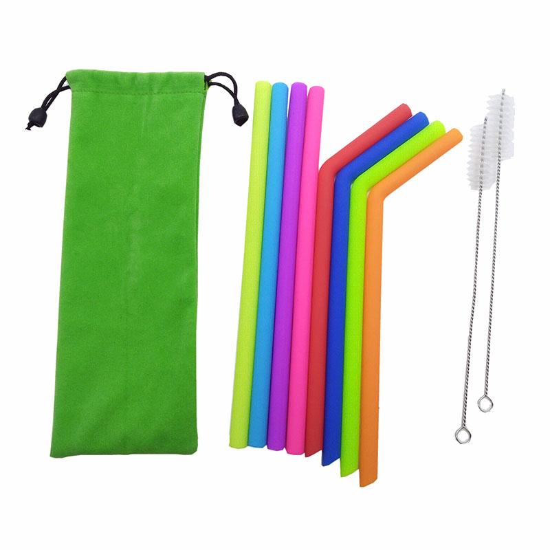10 Pieces Colorful Silicone Straight Straws,Reusable Bent Drinking Straw with Brush