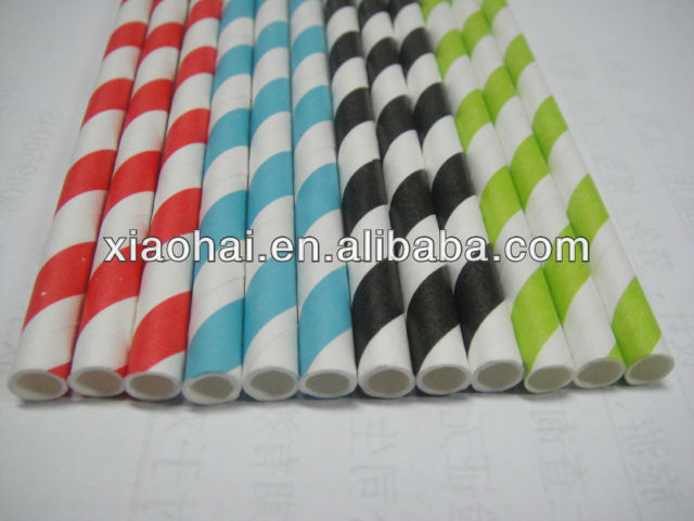 Chocolate Brown and white Striped Paper drinking Straws