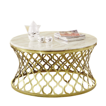 Modern Round Marble Top Stainless Steel Gold Coffee Table