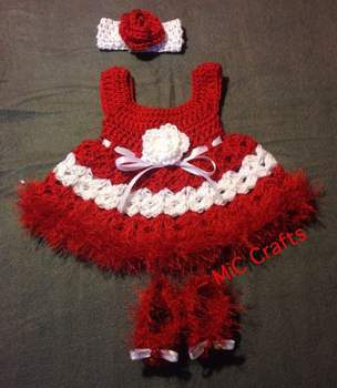 Handmade Crochet Baby Set Outfit Red White 3pc Dress Headband