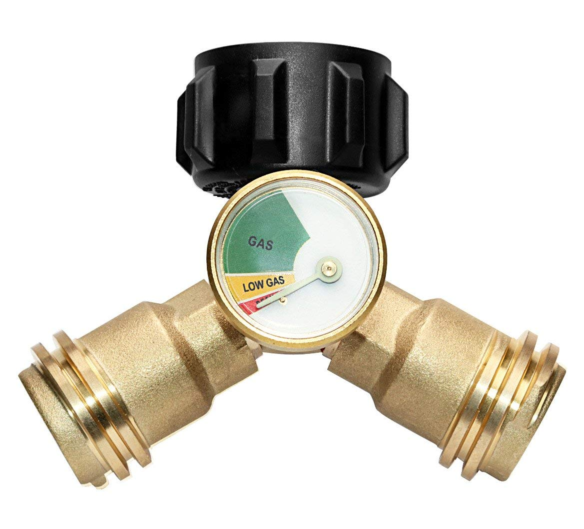 DOZYANT Propane Y-Splitter Tee Adapter Connector With Propane Tank Gauge Propane Tank Gauge Level Indicator Leak Detector Gas Pressure Meter, 100% Solid Brass with 1 Female QCC and 2 Male QCC
