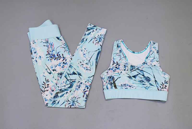 Toplook Flower Print Moisture Wicking Athletic Suit With Chest pad Women Sports Bra And Leggings S29