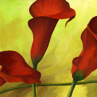 abstract red flowers oil painting modern simple canvas painting