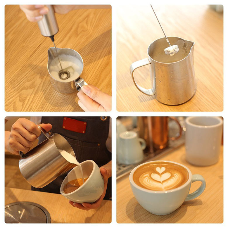 Handheld Electric Stainless Steel Brush Coffee Matcha Milk Frother with Stand
