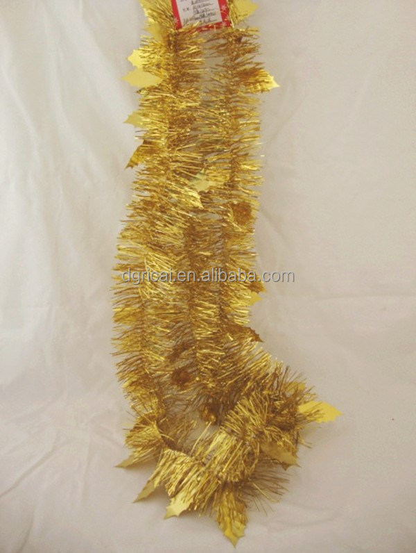 Colored Metallic Christmas Tinsel Icicles,PET/PVC Gold Decorative Tinsel Wholesale