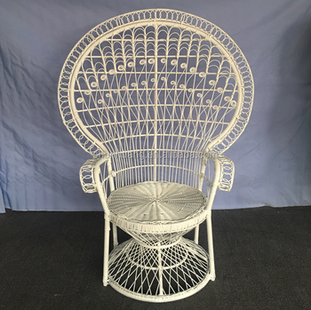 White Color Princess Peacock Chairs Natural Color Rattan Wicker