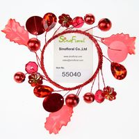 Red flowers & acrylic beads pearls candle wreath Wholesale #55040