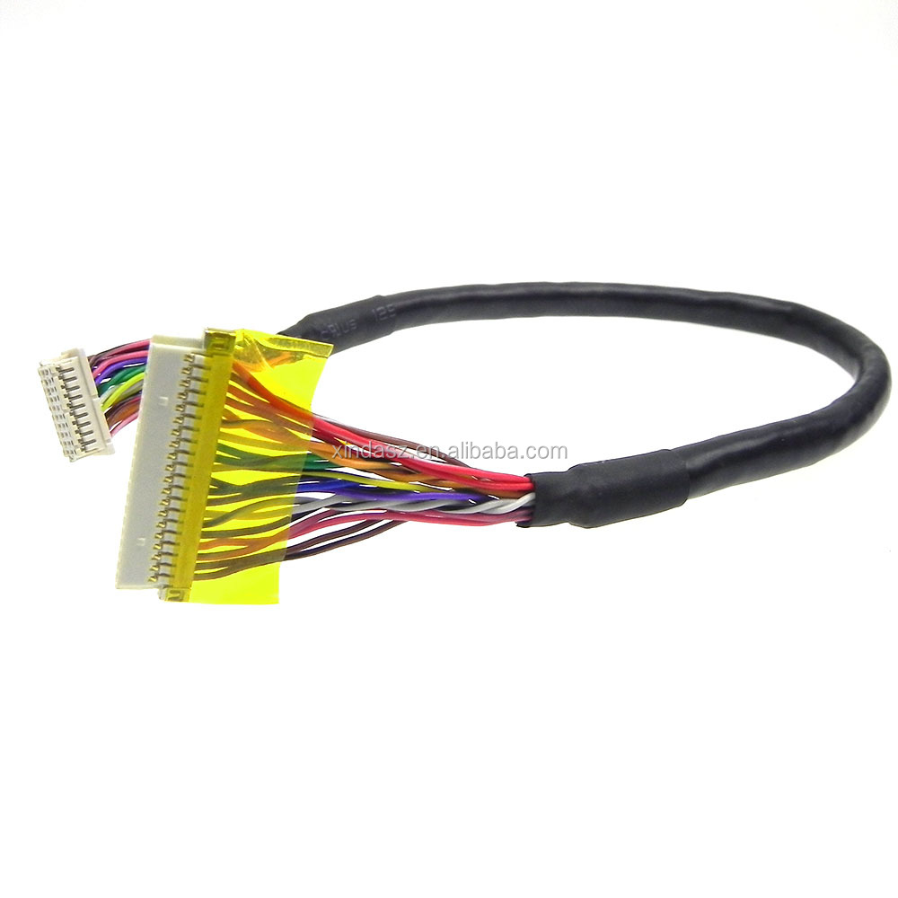 Customized DF20-20DS-1C to DF19-20S-1C twister shield lvds lvd cable assembly
