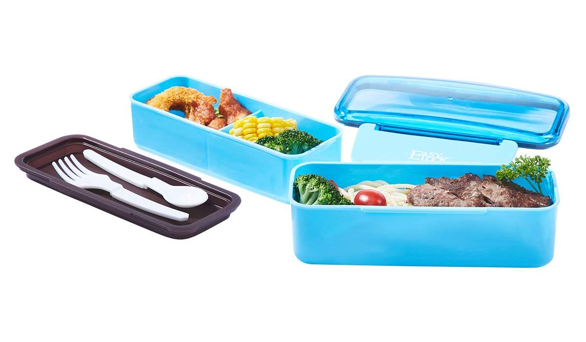 2 Layers Bento Lunch Boxes for Kids Adults, BPA-Free Plastic Food Storage Containers (30.4oz /3.8cup), All-in-One Stackable Lunch Box, Microwave, Dishwasher Safe (Utensils Included)