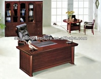 Wood veneer brown office wood desk with long side cabinet
