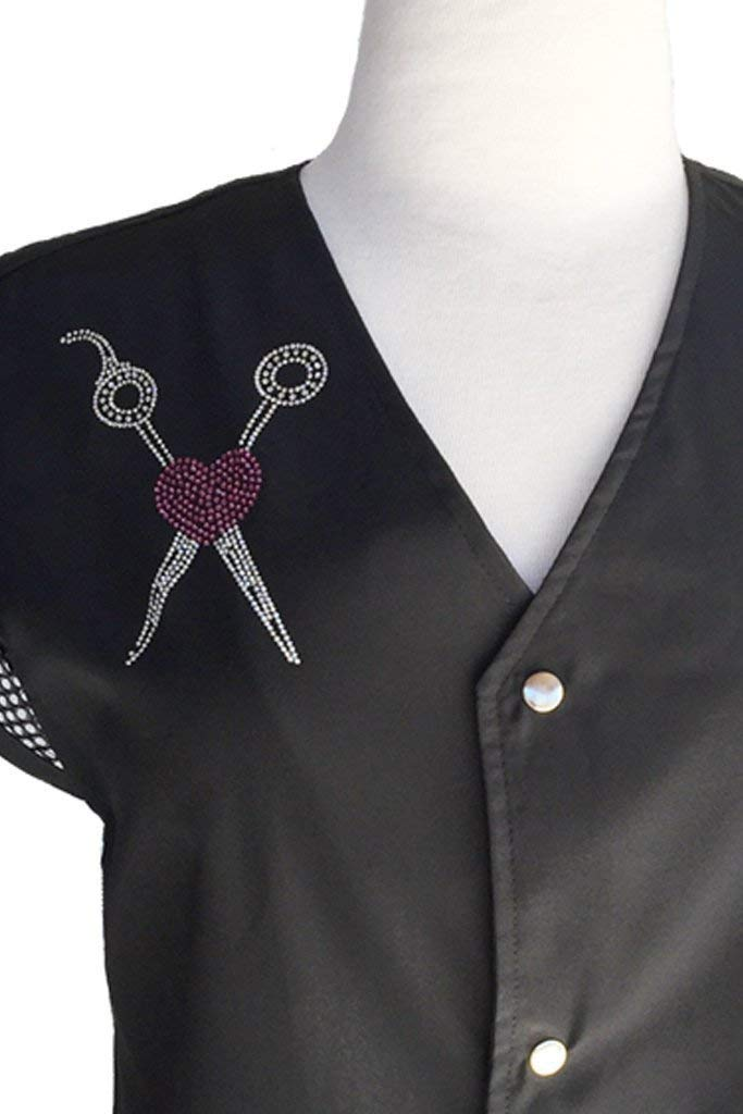 Ladybird Line Shear & Pink Heart Rhinestone Transfer Iron On for T-shirt, Aprons and Jackets