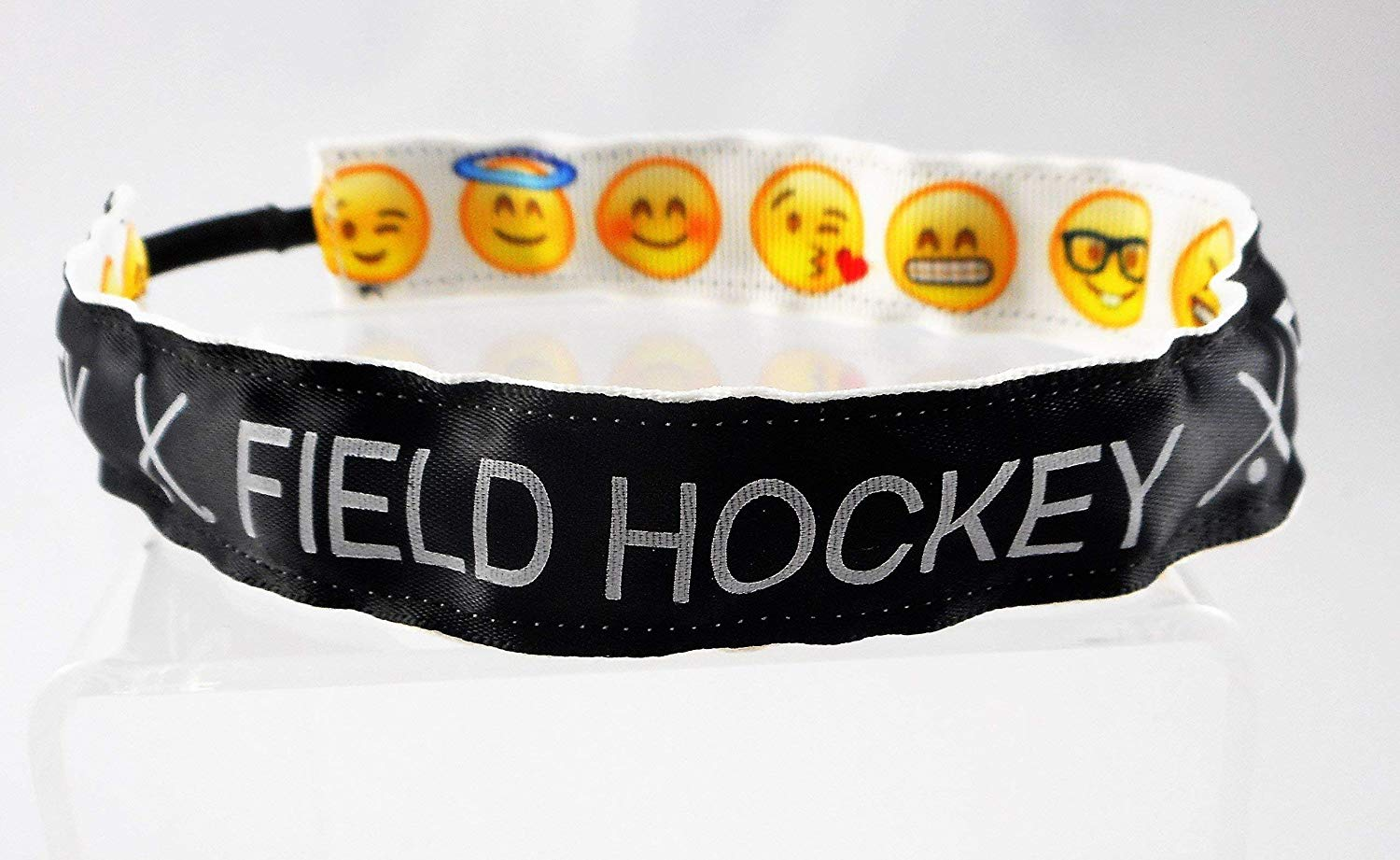 Field Hockey Ribbon Stretch Reversible Sports Elastic Headband Emoji