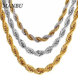 gold plating jewelry necklaces stainless steel jewelry women 2019 rope chain 2mm thickness 12491