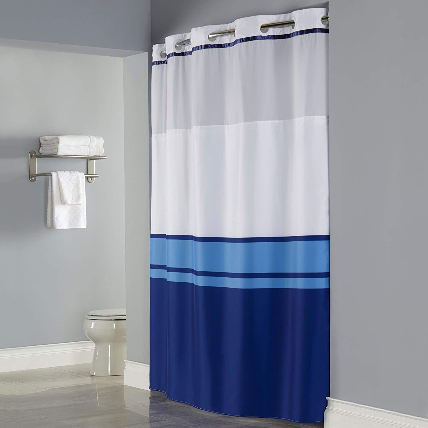 Get Quotations Hookless RBH40MY027 Windsor Shower Curtain With FABRIC Liner