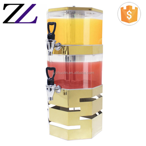 Hotel buffet catering gold fruit juice cold machine 2 tier gallon acrylic frozen collapsible carbonated beverage dispenser