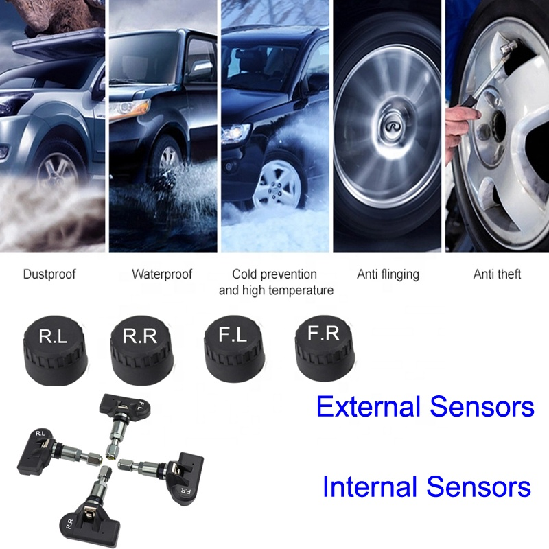 4 Internal Sensor Car Tire Pressure Gauge Solar Charging Monitor
