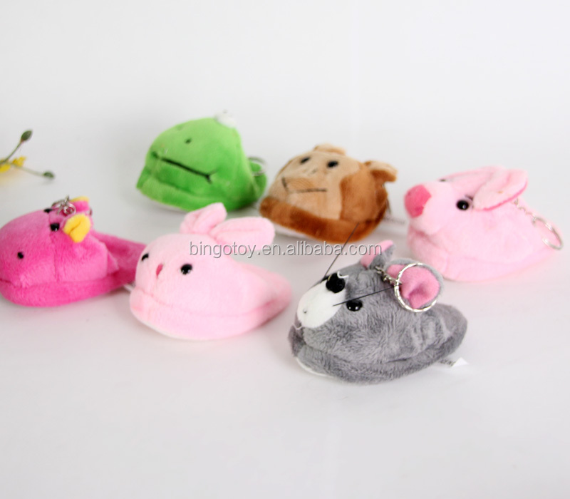 2016 new pet toys Plush cartoon slippers 13 * 8.5 cm animal toys keychain