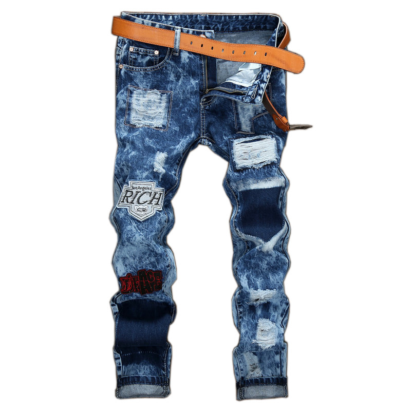 Men's cheap jeans hole Casual baggy ripped hiphop pants Straight patch style