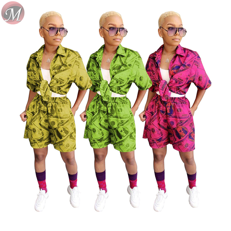 9071904 queenmoen new casual fashion full dollar print short sleeve woman two piece short set