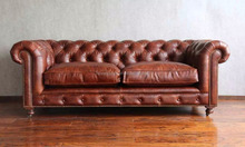 modern american country style brown 3 seat leather sofa