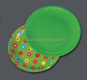 Eco-friendly Round Shape Disposable Paper Plate Tableware For Banquet Weeding,Party,Home Prato De Papel,Plato Desechable