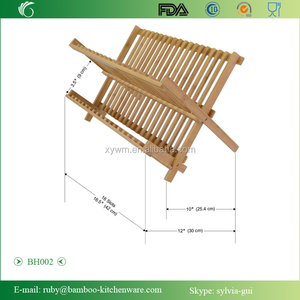 BH002/Counter Bamboo Wood Folding Dishrack Storage Dinner Plate Cup Rack