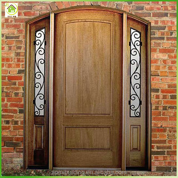 Antique flat solid wood arch main doors design with 2 for Flat solid wood door