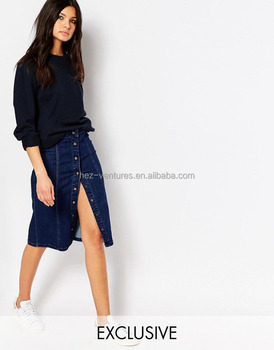 Denim Button Pencil Skirt Denim Skirt Latest Fashion Girls Sexy ...
