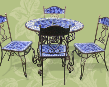 Outdoor Wrought Iron And Ceramic Mosaic Dining Set, Mexico Style Garden  Table And Chairs (