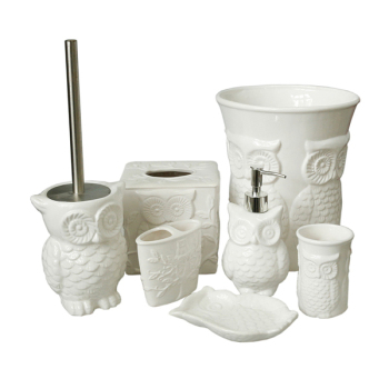 owl carving Ceramic 6 piece Bathroom Set-cup, toothbrush holder, soap dish