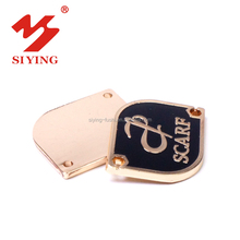 Gold zinc die cast metal label plate with customized logo for scarf