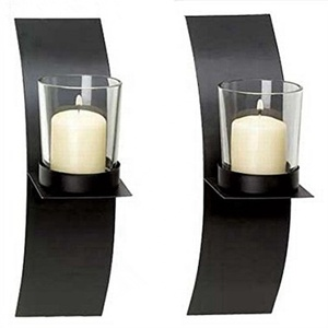 Special European Black Wrought Iron Wall Mounted Hanging Sconce Candle Holder