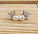 GEM leaf with real pearl 316L surgical steel vibrating earrings Body piercing Jewelry