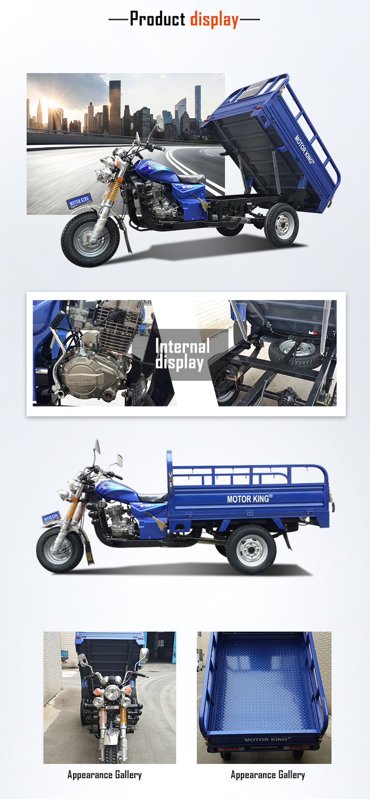 Gasoline adult cargo tricycle motorcycle 150CC