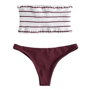 193dda80cc Wholesale Two Piece Strapless Bandeau Bathing Suits 2018 Girls Custom  Swimwear Bikini Women