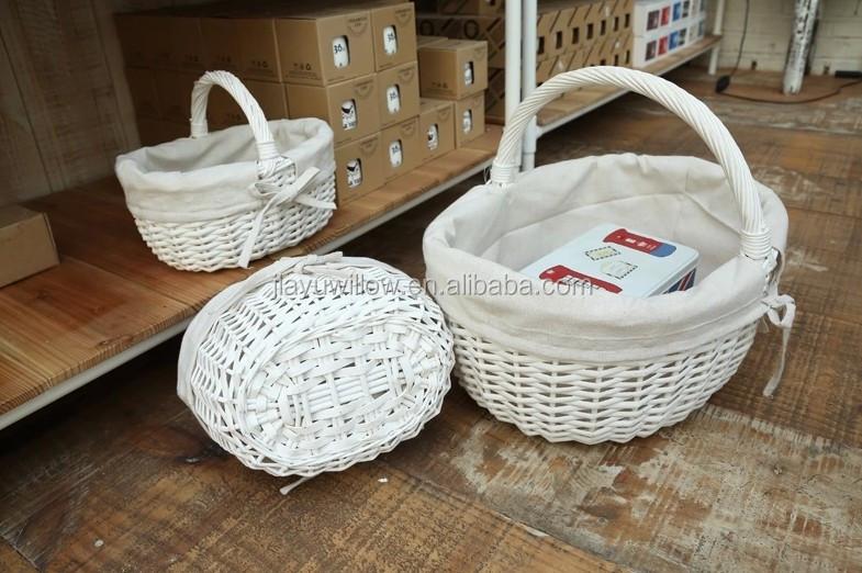 Wholesale White Wicker Basket With Handle Wicker Shopping Basket