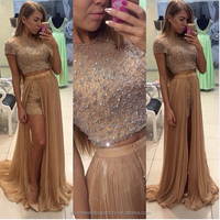 Gorgeous Crystals 2 Piece 2016 Beading Short Pants robe de bal Evening Wear Detachable Skirt Prom Dress CWFp2316