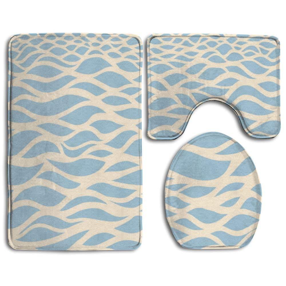 XTingIy Blue Sea Art Family Flannel Non-Slip Bathroom Rug Mats Set 3 Piece Good Water Absorption