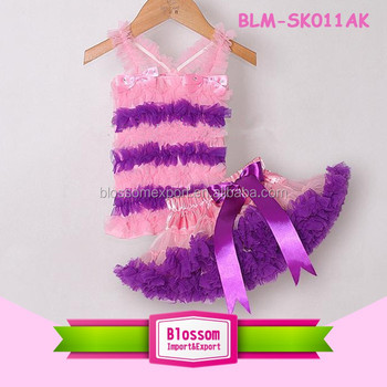 Remake kids clothes children summer clothing sets baby girls top and ruffle skirt set with bowknot