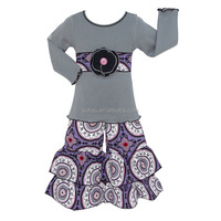 Newest hot sale girl winter printed special soft material cotton kids clothes 2017 clothing set