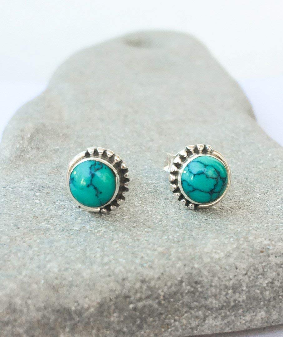 Get Quotations Turquoise Stud Earrings Round Blue Green Shades On