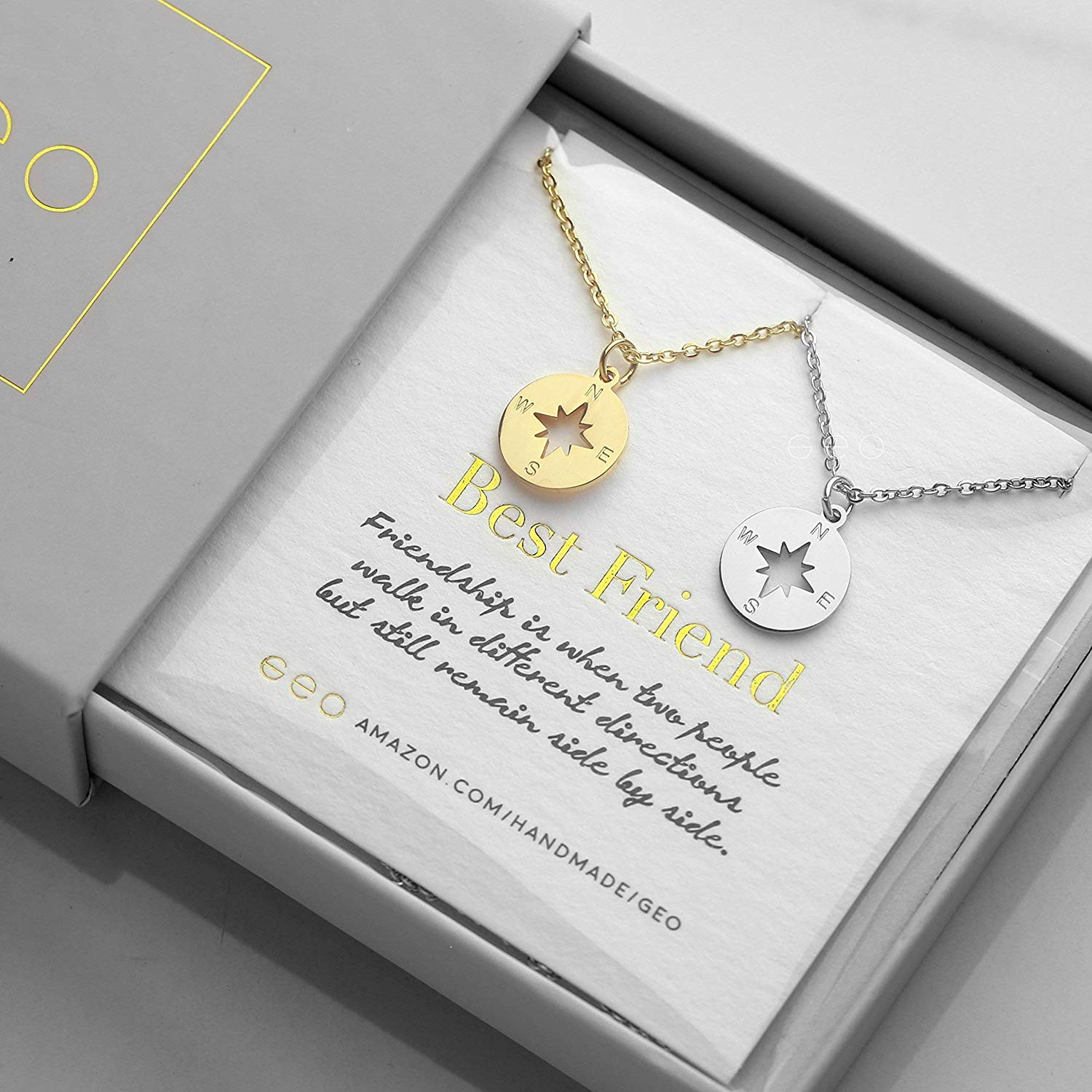 d9c6d2fc29c69a Get Quotations · Gold And Silver Compass Necklaces For Women Best Friend  Necklaces For Two Best Friend Gifts BFF