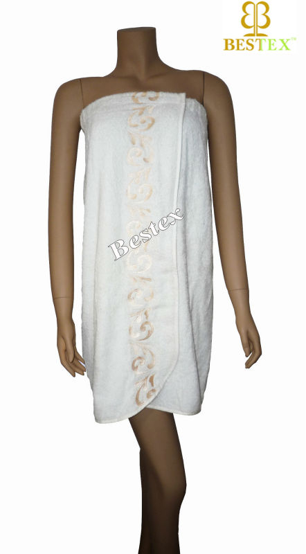 Lace Embroidery White Hotel Cotton terry towelling women bathrobe